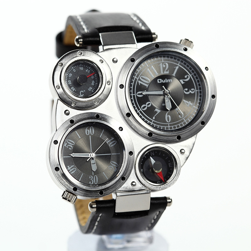 Watches wholesale trade oulm hot models / compass watch two time zones / wholesale men's personality Watches(China (Mainland))
