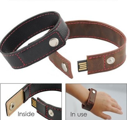 Real capacity flash drive leather pen drive Practical leather wrist band USB flash 4GB/8GB/16GB/32GB creative gift memory stick(China (Mainland))