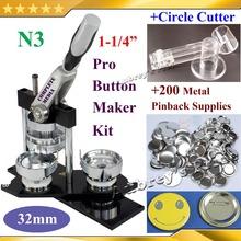 "NEW Pro N3 1-1/4"":32mm Badge Button Maker Machine + Adjustable Circle Cutter+200 Sets of Metal Pinback Supplies(China (Mainland))"