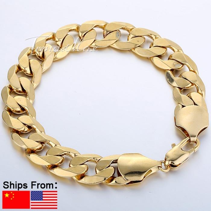 12mm 18K Gold Filled Bracelet Wholesale Mens Boys Chain Bracelet Wide Curb Chain Wholesale Gift Jewelry 7-11inch LGB196(China (Mainland))