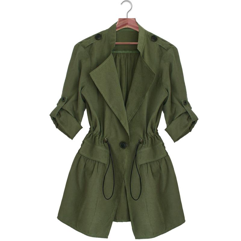 VfEmage женский элегантный отложной воротник резинка по талии рулонные рукава с карманами армия зеленый офисный повседневный плащ пальто ветровка пиджак куртка 1421