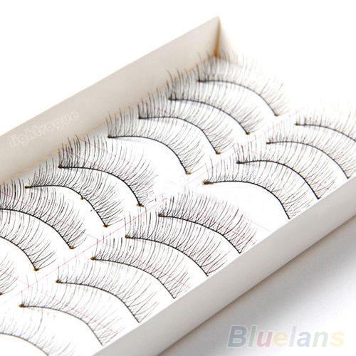 Гаджет  Fancy 10 Pairs Soft Natural Cross Handmade Eye Lashes Makeup Extension False Eyelashes None Красота и здоровье