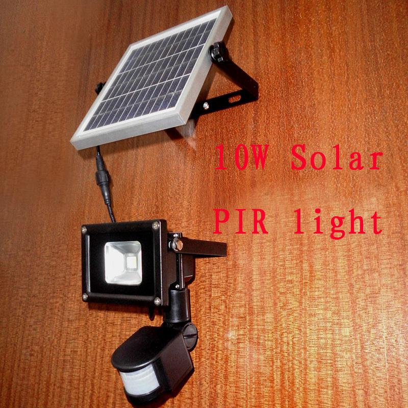 10W Solar pir motion sensor LED flood light Super bright security lights Free shipping(China (Mainland))