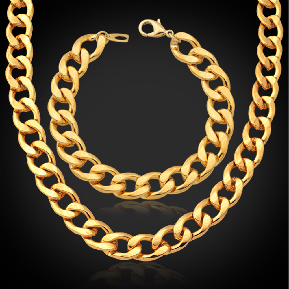 African Ethiopian Gold Plated Jewelry Set For Men Platinum/Rose Gold Plated Wholesale Big Chunky Bracelet Necklace Set IS754(China (Mainland))