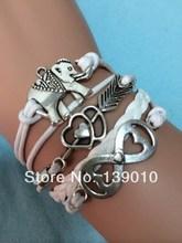 Free Shipping!3PCS/LOT!Braided White Leather Rope Custom Bracelet Hot Selling Women Elephant Heart Arrow Infinity Jewelry K-681(China (Mainland))