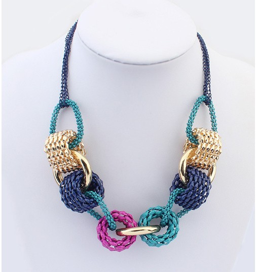 2015 Women Fashion Factory Wholesale in Europe And America Retro Trend Hit Color Metal Necklace Free Shipping(China (Mainland))
