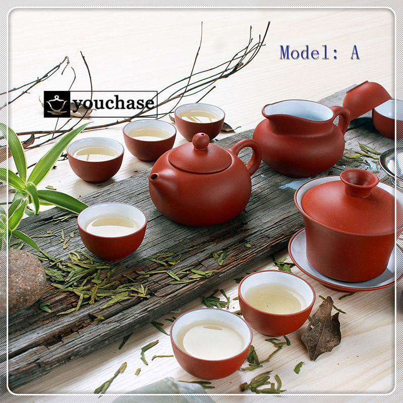 3 Colors 6Pcs Genuine China YiXing Purple Filtered Tea Sets includes 8 Crude Ceramics Tea Cups 1 teapot 1 Gaiwan 1 Filter(China (Mainland))