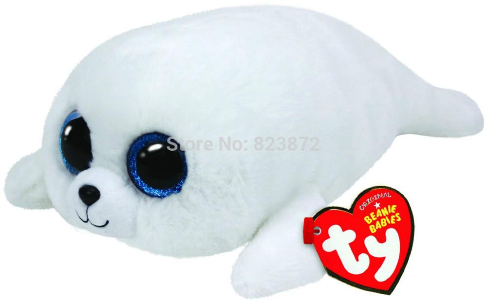 New TY Plush Animals Beanie Boos ICEBERG White Seal Plush Toys 6''/10'' Large Size Ty Big Eyed Stuffed Animals Kids Toys Gifts(China (Mainland))