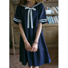 Preppy style loose plus size dark blue sailor collar short sleeve stripe one-piece dress for mori girls Japanese navy dress gown