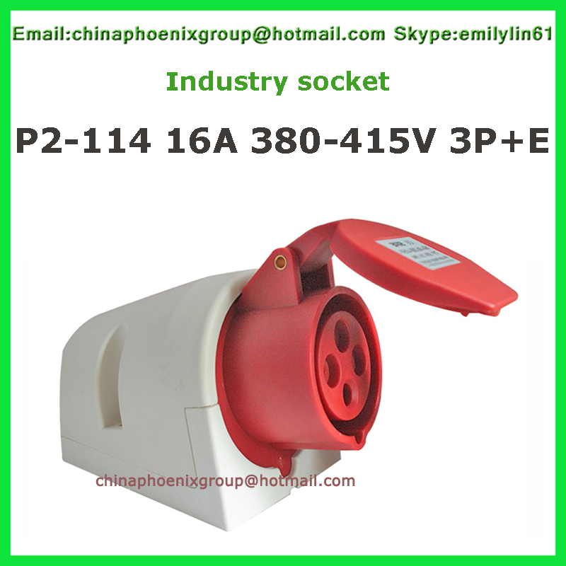 Industrial waterproof socket  16A 4 pin 3P+E  32A wall-mounted socket red color 2pcs high quality nylon free shipping<br><br>Aliexpress
