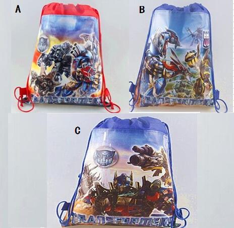 50pc/lot Transformers Backpacks children school bags Cartoon Drawstring bag mohila shopping birthday party bag 3 design M051(China (Mainland))