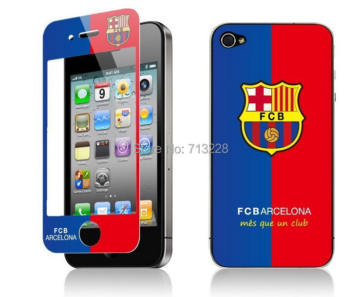 Premium Tempered schott Glass ANti-shatter Screen Protector Film+Football club crystal sticker skin for iphone 4 4S(China (Mainland))
