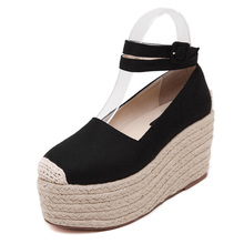 Women Espadrilles Canvas Casual Spring Summer 2016 Rope Sole Thick Platform Flat Mary Janes Shoe Ankle Strap Slip on Muffin Shoe