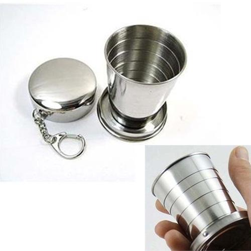High quality 75ml Stainless Steel Portable Outdoor Travel Camping Folding Collapsible Cup mug(China (Mainland))
