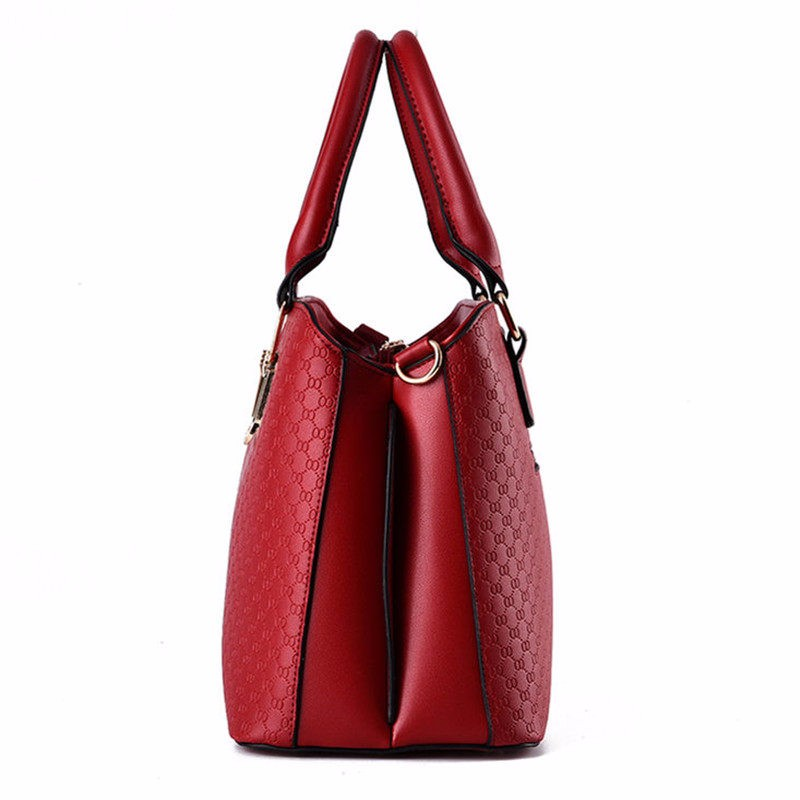 Geometric Plaid Casual Women Large Handbag Occident Style Gergours Shoulder Bag Ladies Embossing PU Leather Crossbody Bag