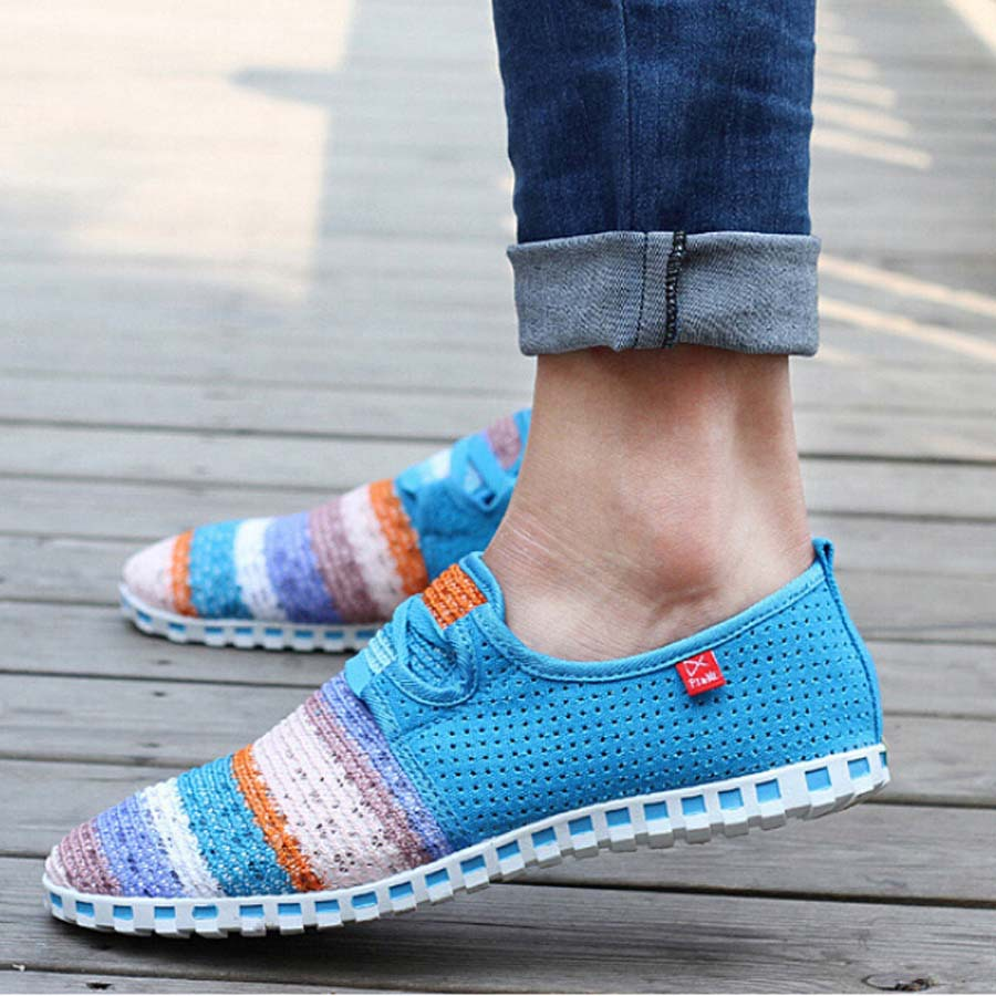 2015 New ! Summer Mens and women Casual Canvas Espadrilles Lace Loafers Driving rainbow Shoe<br><br>Aliexpress