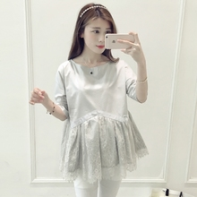 Fashion Summer Style O neck Short Sleeve Cute Maternity pure Solid Color Lace Tops/ t shirt for Pregnant Pregnancy women Clothes