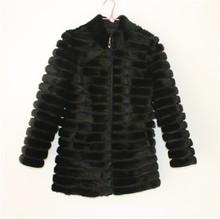 LIYAFUR Women's Real Genuine Mink Fur Winter Long Coat Jacket Full Sleeve Three Quarter Sleeve Stand Collar(China (Mainland))