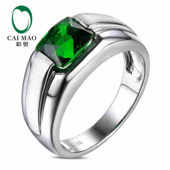 CaiMao 18KT/750 White Gold 2.2 ct Natural Tsavorite  &amp;  ct Full Cut Diamond Engagement Gemstone Ring Jewelry<br><br>Aliexpress