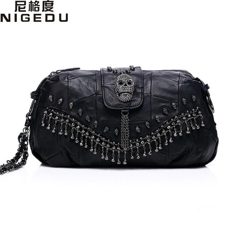 Punk skull handbag Genuine Leather Women messenger Crossbody bags fashion Chain tassel female Shoulder bag bolsa franja Totes