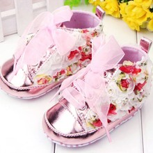 Newborn Baby Kids Girls Floral Anti-slip Shoes Lace Soft Bottom Casual Shoes 0-12 Months (China (Mainland))