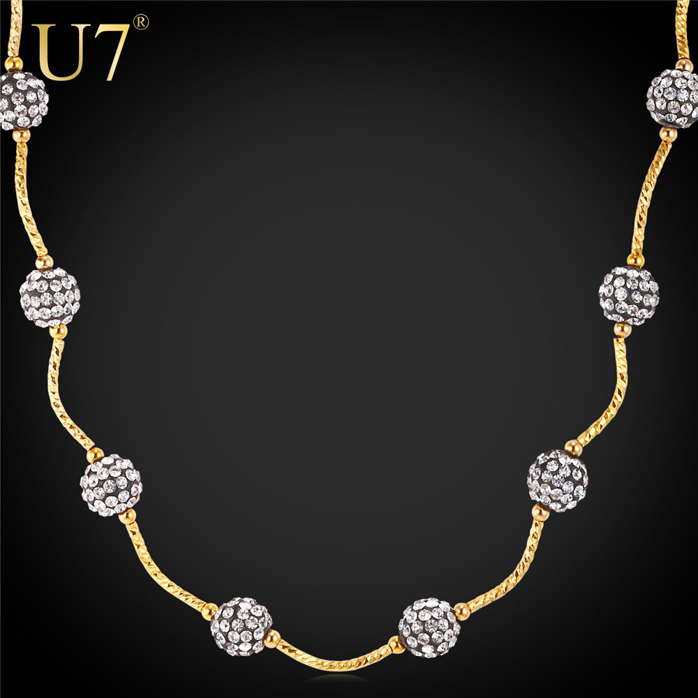 U7 Shamballa Stone Necklace Chain For Women Gold Plated Fashion Jewelry 2016 Two Use Necklace/Bracelet Flexible Necklace N515(China (Mainland))
