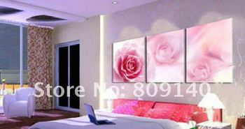 oil painting flower Romantic Pink Rose Wedding Gift bedroom decor hand painted home hotel wall art artwork new free shipping