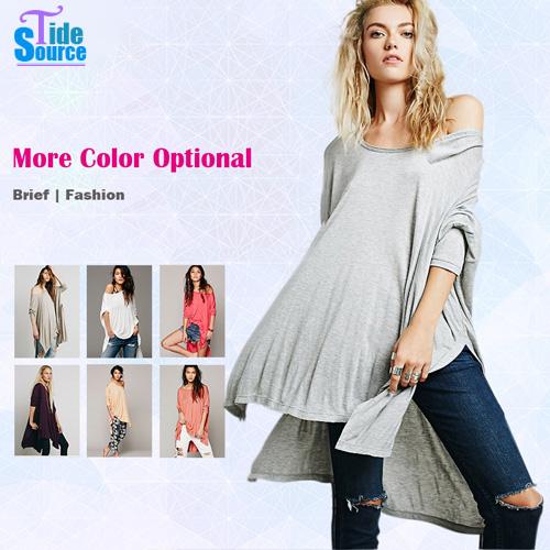 Multi-way Spring Summer New Arrival 2015 Women Top Plus Size BF Sexy T Shirt Cloak Loose T Shirt Casual Long Asymmetric T Shirt(China (Mainland))