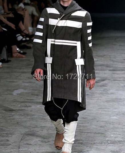2015 Men's Punk Fashion Black White Patchwork Drawstring Design Long Hooded Trench Coat, British Style Autumn Slim Fit Outwear(China (Mainland))