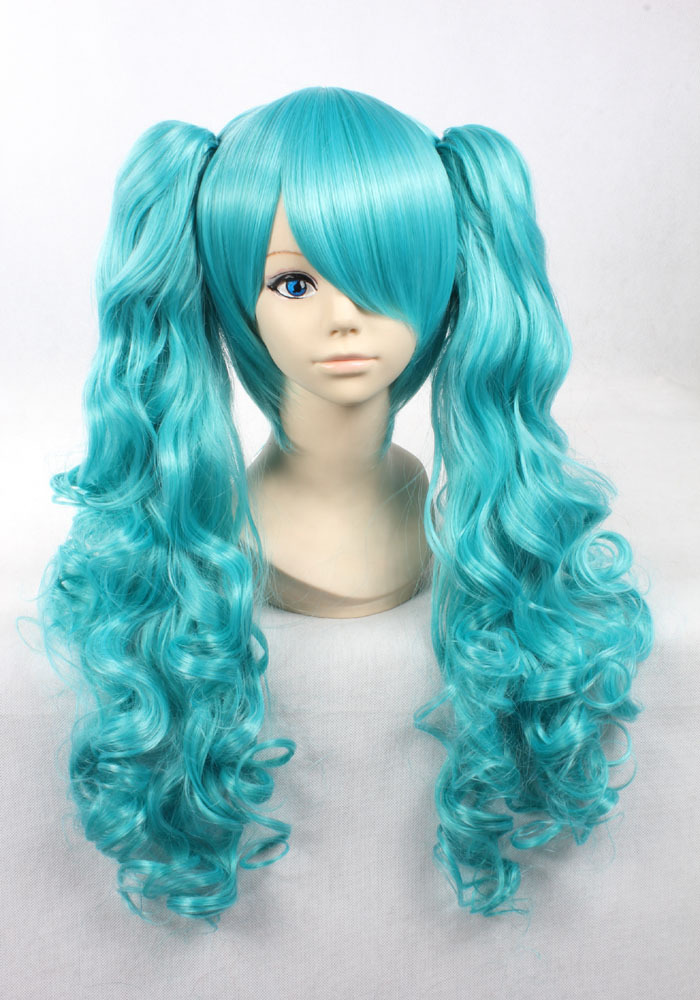 Quality Thick 70cm+30cm Ponytails Clips Wavy Blue Wig Vocaloid Hatsune Miku Cosplay Lovely Girls Wigs(China (Mainland))