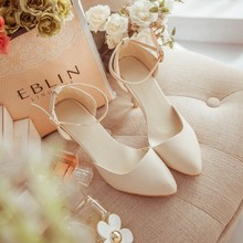 Summer new wild the word buckle sandals female nude color heels with thin pointed shoes large size shoes Baotou
