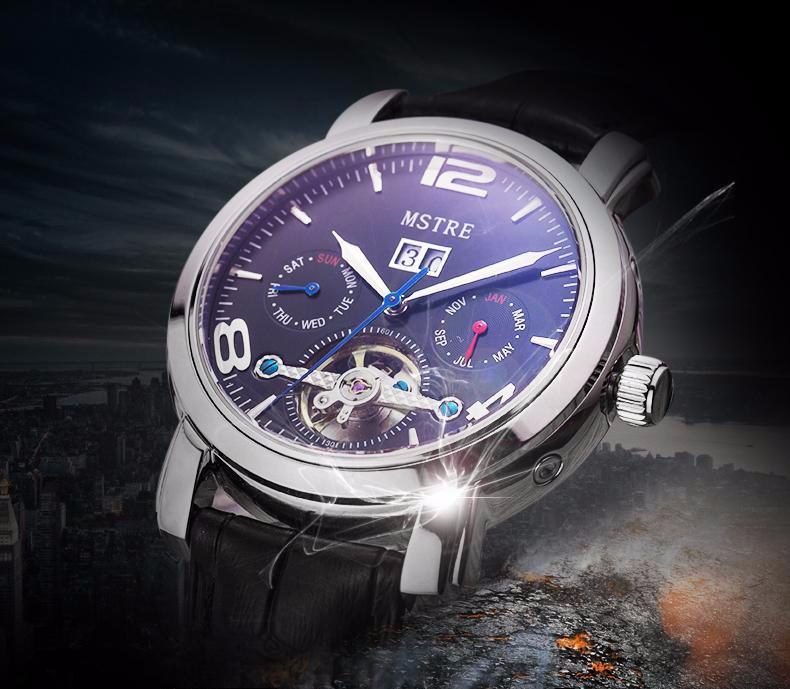 Марка Mstre Классическая Мода Бизнес Часы Мужчины Автоматические Часы Кожаный Ремешок Турбийон Часы Наручные Часы Relogio Masculino