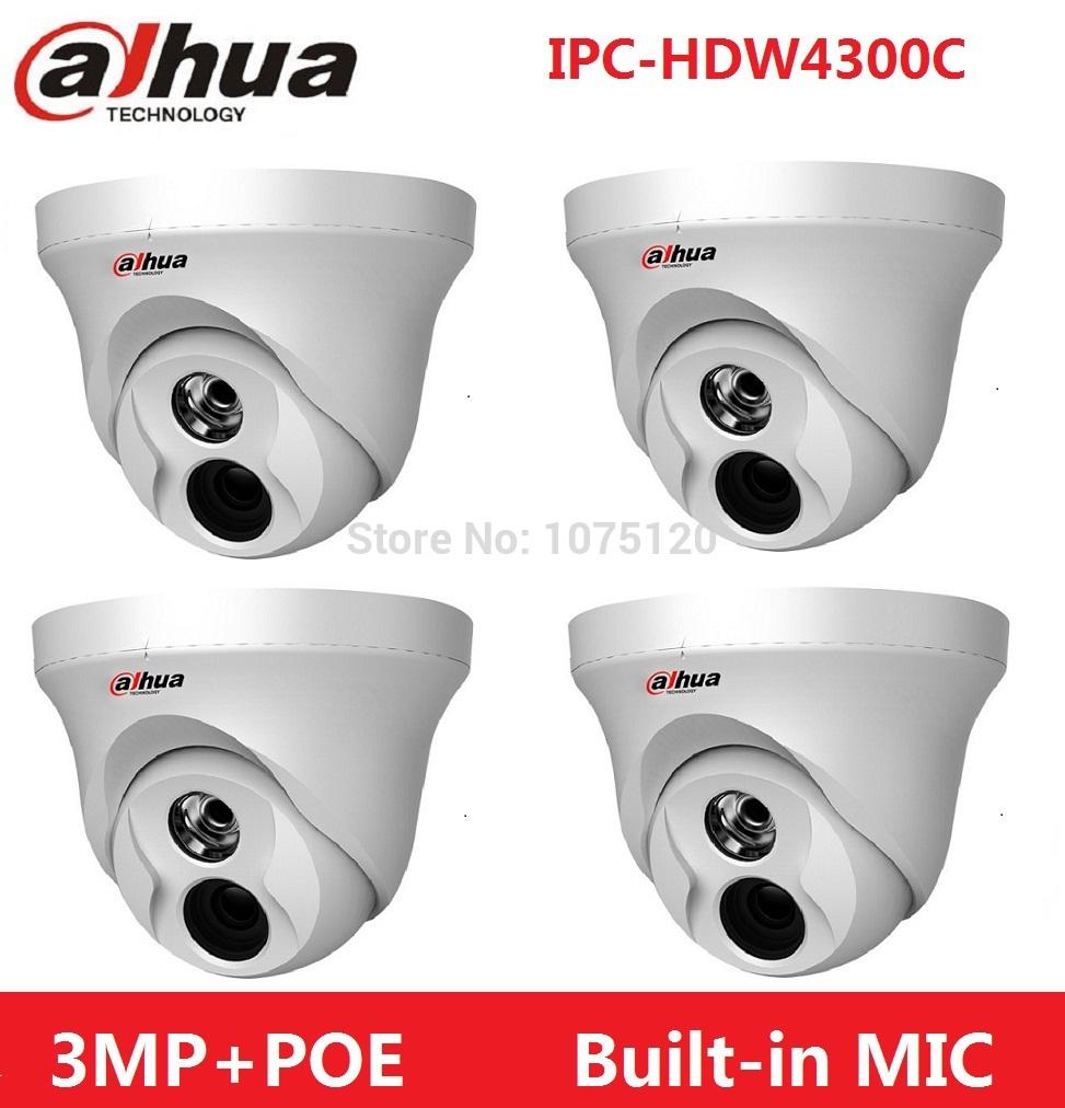 4pcs/lot DHL Free Shipping Dahua IPC-HDW4300C Built-in MIC IR HD  IP Camera 3MP Full Network security cctv Dome DH-IPC-HDW4300C<br><br>Aliexpress