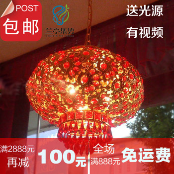 2014 top fasion green new arrival modern chinese style 2 rotation balcony pendant light big red crystal lantern  free shipping