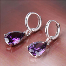 New Fashion Crystal Purple Water Drop Large Rhinestone Drop Earrings For Women Gift er762(China (Mainland))
