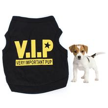 Pet Dog Puppy  Black Cotton Blend T-Shirt VIP Pattern Vest Teddy Clothes