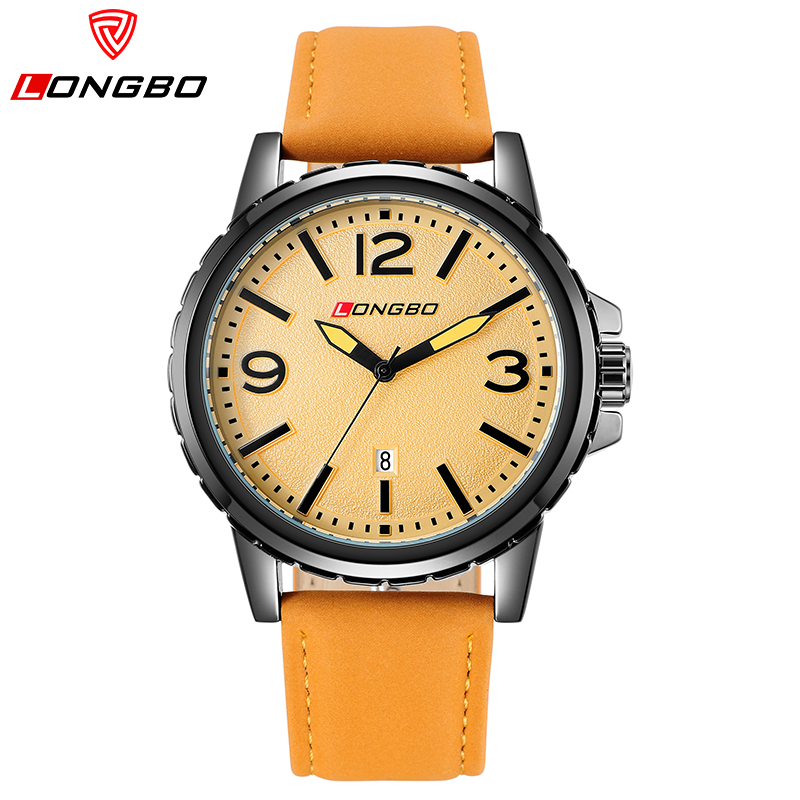 LONGBO Sport Watches For Men Orange Leather Strap Wrist Watches Fashion Casual Electronic Watch Top Brand Luxury Relogio Date(China (Mainland))