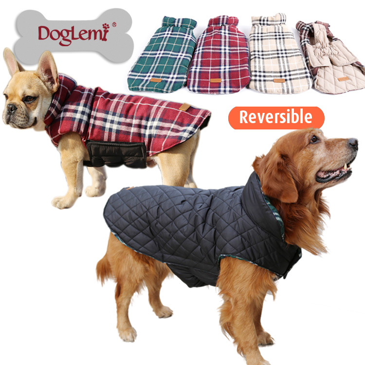 2015 Waterproof Reversible Dog Jacket Designer Warm Plaid Winter Dog Coats Pet Clothes Elastic Small to Large Dog Clothes Winter(China (Mainland))