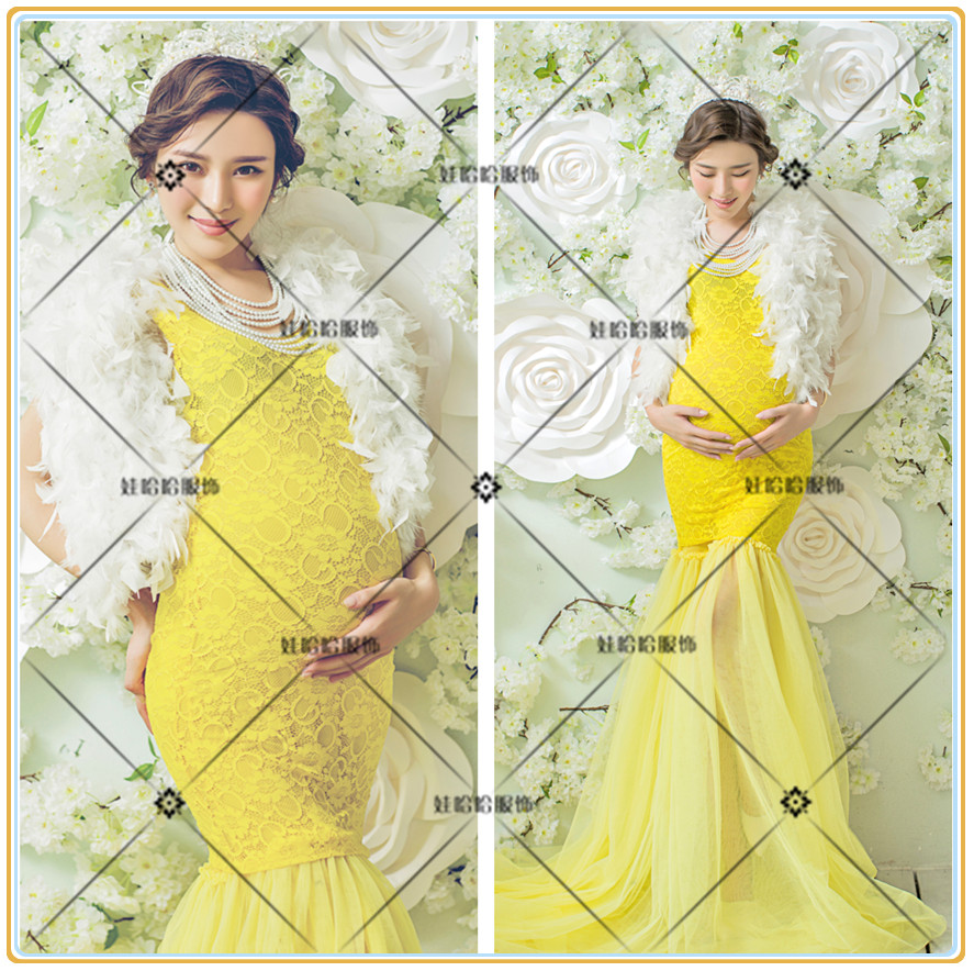 Royal Maternity Photography Props Pregnant Women Noble White Gauze Long Lace Dress Photo Shoot Fancy costume Free shipping