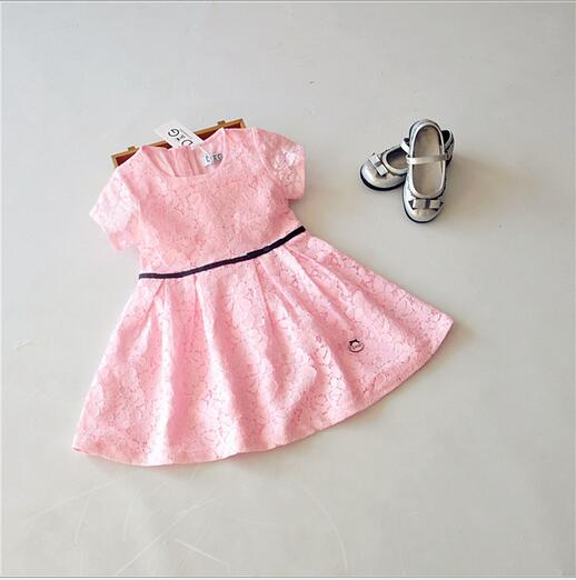 2016 Kids Girls Crochet Lace Dresses Baby Girl Princess Party Dress With Sash Babies Summer Clothes childrens clothing<br><br>Aliexpress