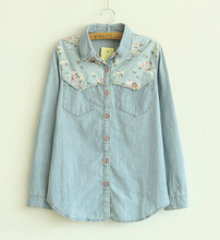 Women Long-sleeved Blouses Spring and Fall Single Department Korean Denim Blue Floral Shirt Stitching For Women(China (Mainland))