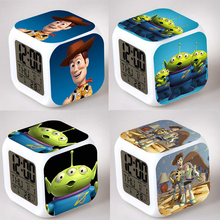 Toy Story Alarm Night Light Clock Lovely Popular Square LED Colorful Digital Electronic Clock America Anime Toys Small Gift #F