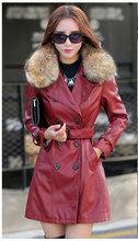 2016 New Winter PU Leather Jaqueta De Couro Women Windbreaker Jacket Fur Collar Long Slim Womens Leather Jackets And Coats 967(China (Mainland))