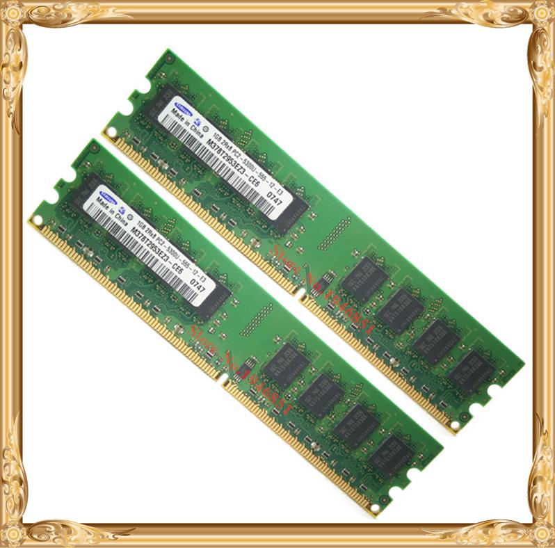 Desktop memory For Samsung 2GB 2x1GB 667MHz PC2-5300U DDR2 PC RAM 667 5300 1G 240-pin Free shipping<br><br>Aliexpress