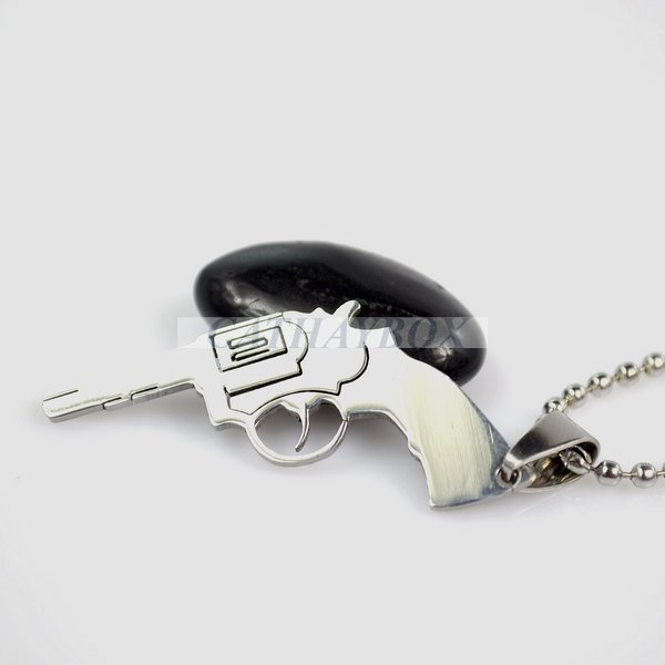 High Polished Silver Tone Stainless Steel Pistol Gun Emblem Charm Pendant Necklace W/O SS Chain 50CM Long 01(China (Mainland))