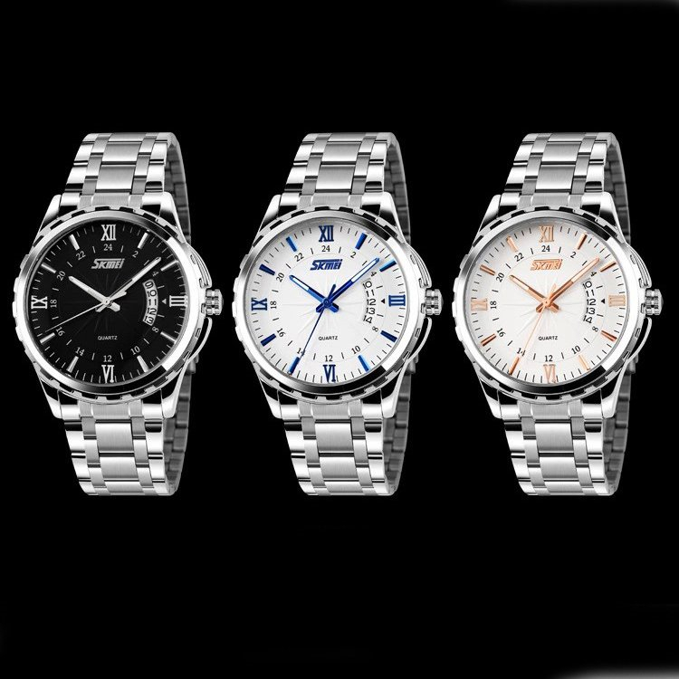 Fashion Stainless Steel Men Watches Top Luxury Brand SKMEI Clock 3ATM Relogio Masculino Men Quartz Wristwatch