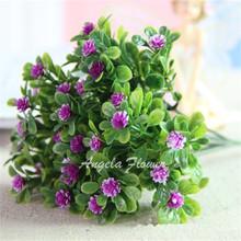 Vivid Cute artificial Miraflor flower green plant silk flower 6 branch/bouquet without vase mini grass home decoration(China (Mainland))
