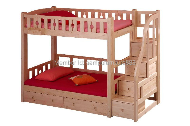 King Size Wooden Bunk Bed With Stairs In Children Beds