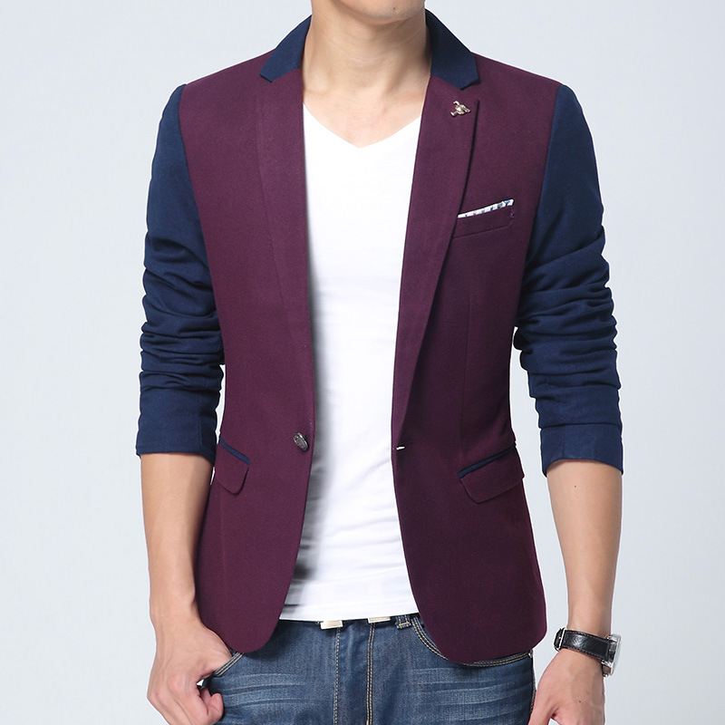 2015 new arrival casual blazer for men single button brand red slim fit male suit jacket high quality men's Blazers(China (Mainland))