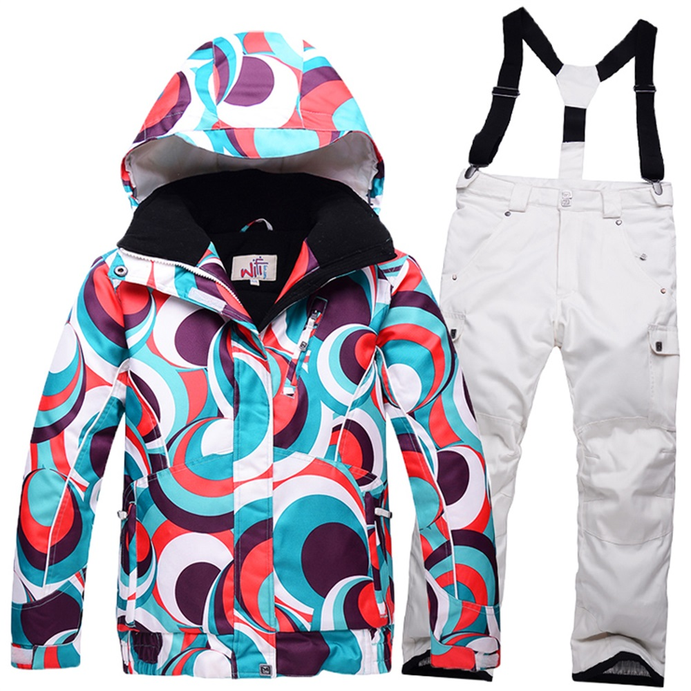 Russian Winter ski jacket girl thicken cotton padded kids skiing jacket and pants set children snow board clothes -30 deegree(China (Mainland))